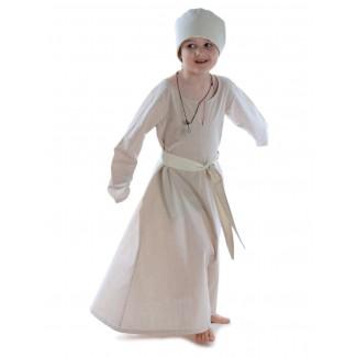Mittelalter Kinderkleid Geirdriful in Hanffarben Frontansicht 2
