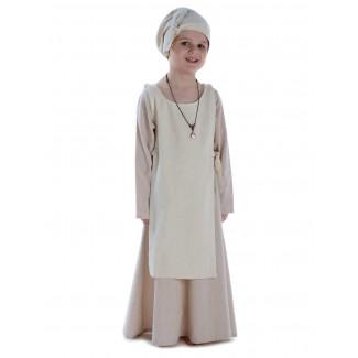 Mittelalter Kinderkleid Geirdriful in Hanffarben Frontansicht 3