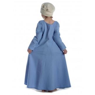Mittelalter Kinderkleid Geirdriful in Hellblau Rückansicht