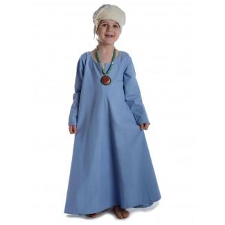 Mittelalter Kinderkleid Geirdriful in Hellblau Frontansicht