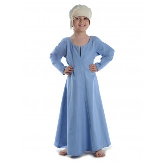 Mittelalter Kinderkleid Geirdriful in Hellblau Frontansicht 2