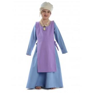 Mittelalter Kinderkleid Geirdriful in Hellblau Frontansicht 3