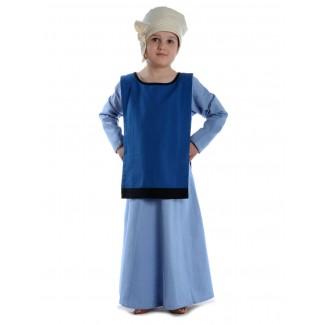 Mittelalter Kinderkleid Geirdriful in Hellblau Frontansicht 4