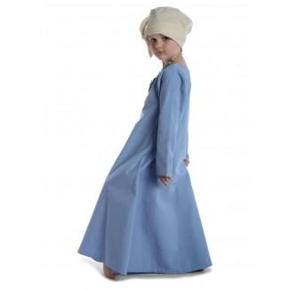 Mittelalter Kinderkleid Geirdriful in Hellblau Seitenansicht