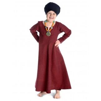 Mittelalter Kinderkleid Geirdriful in Rot Frontansicht