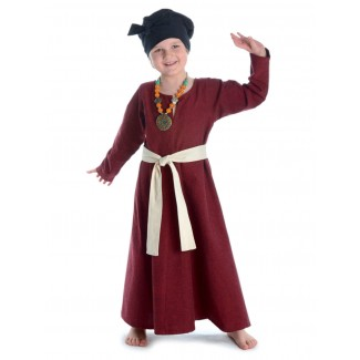Mittelalter Kinderkleid Geirdriful in Rot Frontansicht 2