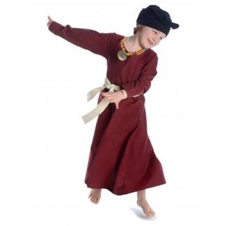 Mittelalter Kinderkleid Geirdriful in Rot Frontansicht 3