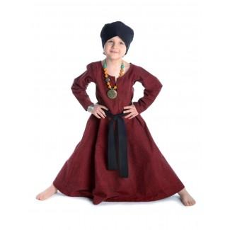 Mittelalter Kinderkleid Geirdriful in Rot Frontansicht 4