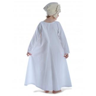 Mittelalter Kinderkleid Geirdriful in Weiß Rückansicht