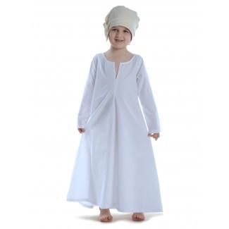 Mittelalter Kinderkleid Geirdriful in Weiß Frontansicht