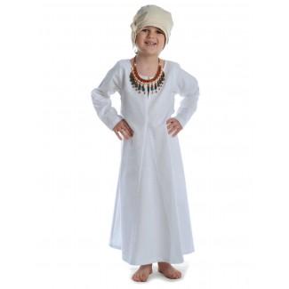 Mittelalter Kinderkleid Geirdriful in Weiß Frontansicht 2