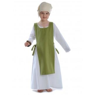 Mittelalter Kinderkleid Geirdriful in Weiß Frontansicht 3