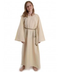MIttelalter Kinder-Kleid Isaza in Beige-Grün Frontansicht