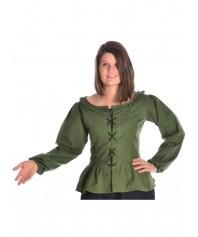Mittelalterliche Bluse aus reiner Baumwolle zum Schnüren in schwarz und weiss