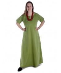 Mittelalter Kleid Hrist in Hanffarben Frontansicht