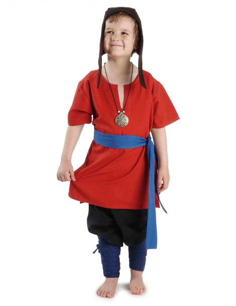 Mittelalter Kindertunika Maurin in Rot Frontansicht